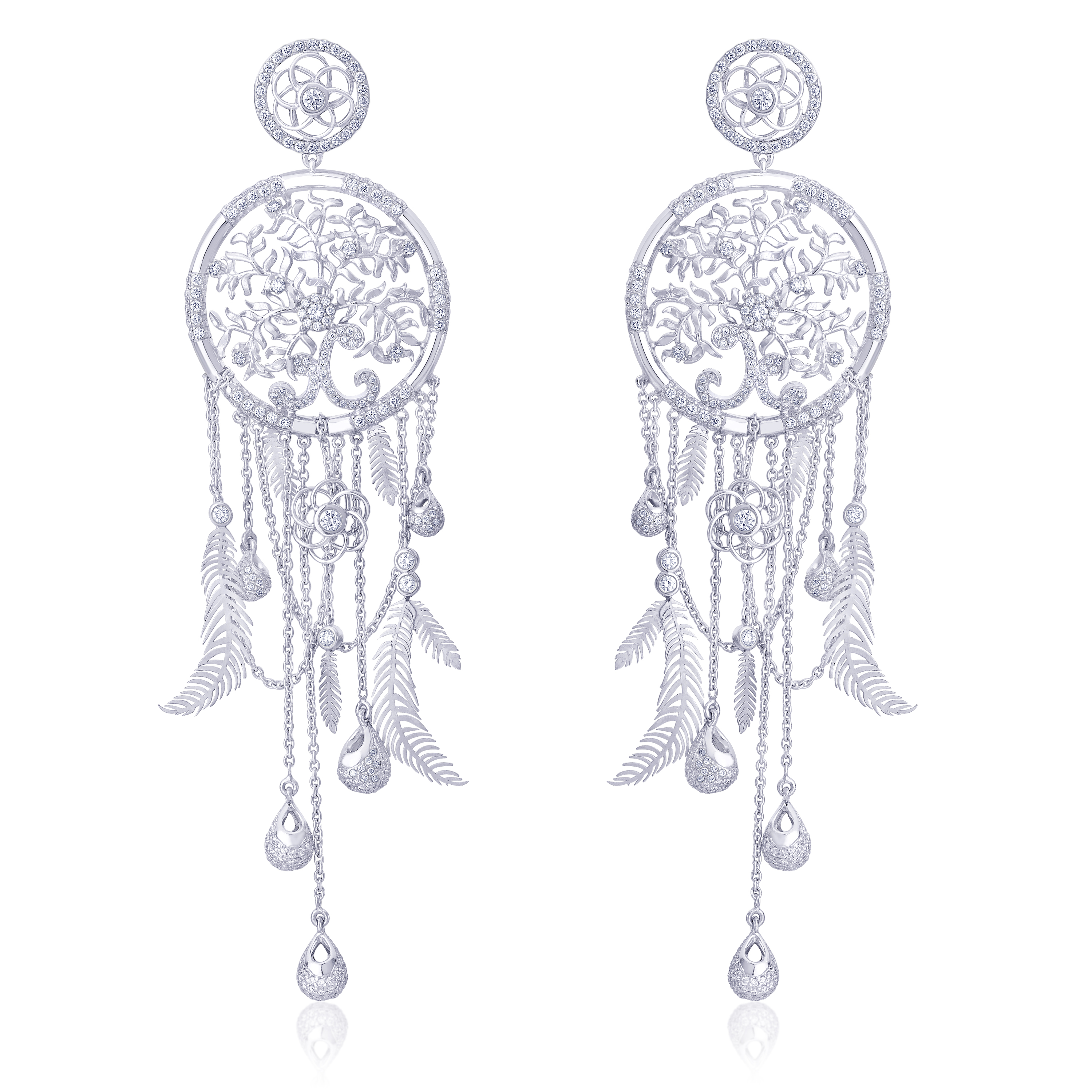 Dream Catcher Earrings Crafted In Eternal Platinum By Orra (2)
